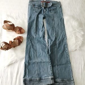 Funky Boho Wide Leg jeans With Attached Belt